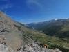 Au sommet de la voie, la vue porte jusqu\'au sommet des Agneaux !