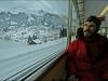 Lionel Daudet dans le train de la Kleine Scheidegg.