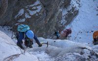 Cascade de glace à Ceillac dans l'Y de droite avec un guide de haute montagne